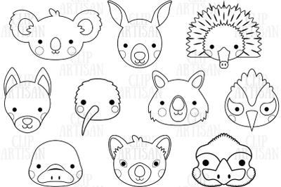 Australian Animal Faces Clipart, Koala, Kangaroo, Wombat