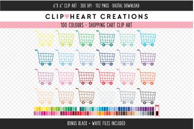 Shopping Cart Clipart - 100 Colours