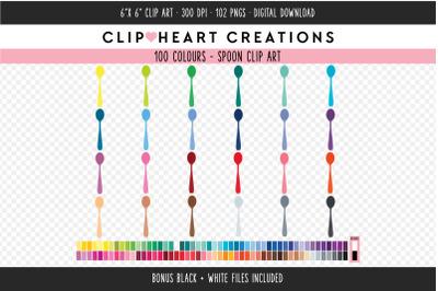 Spoon Clipart - 100 Colours