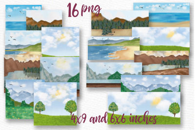 Lanscapes clipart Mug templates Spring Summer background