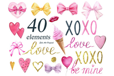 Valentines day. Pink and gold.Watercolor clipart.
