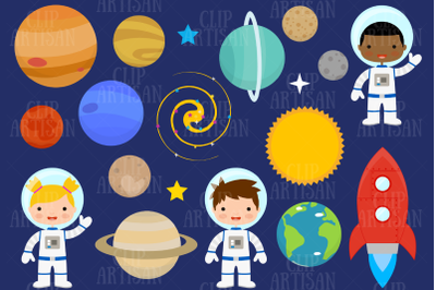 Astronaut Clipart, Space, Planets, Rocket