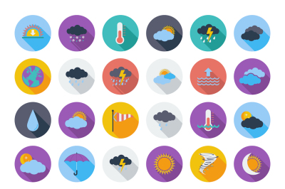 Weather color flat Icons for day and night forecasting, for web and print applications. Vector illustration.