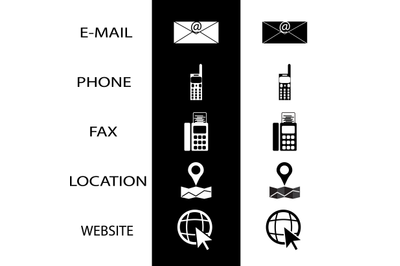 Icons conctact for business card phone fax and website