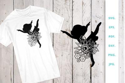 Floral Ballerina Silhouette Cut File
