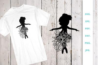 Floral Ballerina Silhouette Cut File 3