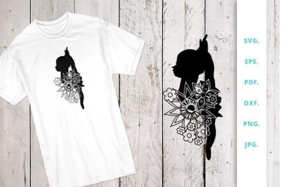 Floral Ballerina Silhouette Cut File 4