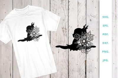 Floral Ballerina Silhouette Cut File 6