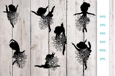 Floral Ballerina Silhouette Cut File Bundle