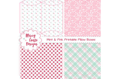 Mint & Pink Printable Pillow Boxes