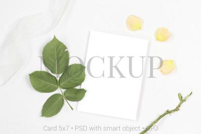 Mockup invitation card with white ribbon