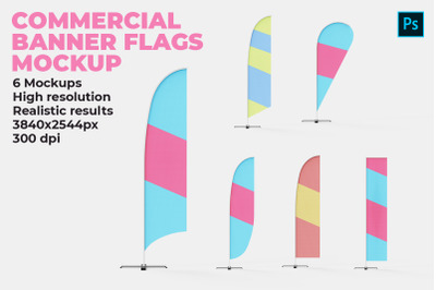 Commercial Banner Flags Mockup