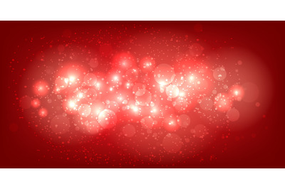 Festive Red Background with Shining Bubbles