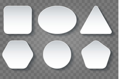 Various Shape Blank White Buttons Set