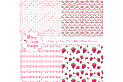 Berry Pink Printable Pillow Boxes Set of 4