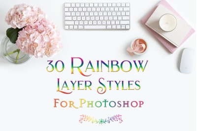 Rainbow Layer Styles for Photoshop - Set of 30 Styles