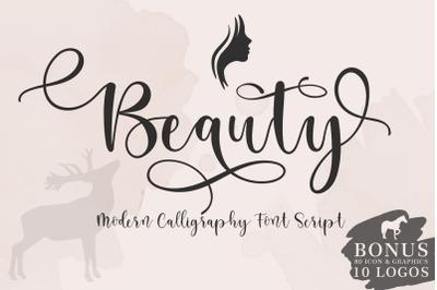 Beauty sript font + BONUS 10 LOGOS & 81 ICON