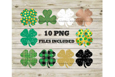 Shamrock Sublimation Design PNG Bundle, St Patrick's Clover Clip Art