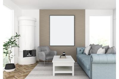 Interior scene - artwork background - frame mockup