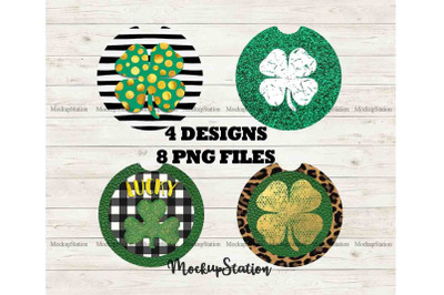 St Patrick's Car Coaster Sublimation Template Bundle, Shamrock Clipart