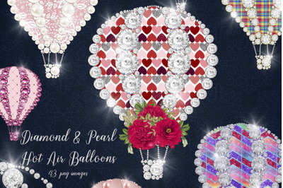 43 Diamond Pearl Gold Glitter Rainbow Hot Air Balloons PNG