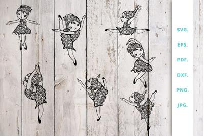 Cute Ballerina out of Mandala Bundle