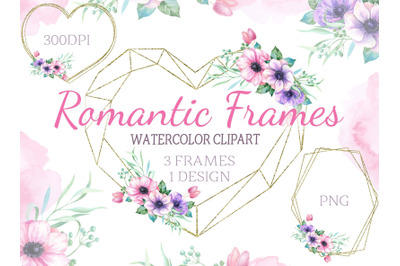 Geometric frames with watercolor flowers anemone heart