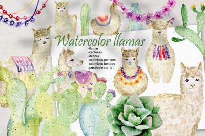Watercolor llamas. Kit.