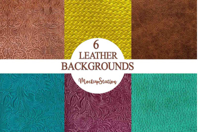Leather Background Bundle, Textured Embossed Turquoise Leather Texture