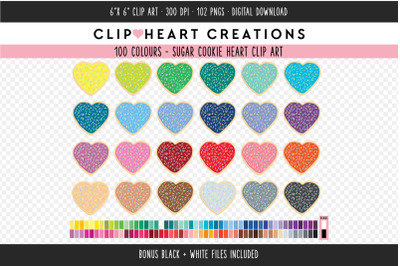 Heart Sugar Cookie Clipart - 100 Colours