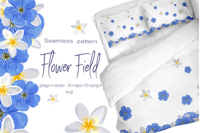 """Spring set """"Flower field"""" Seamless pattern and seamless borders with f"""