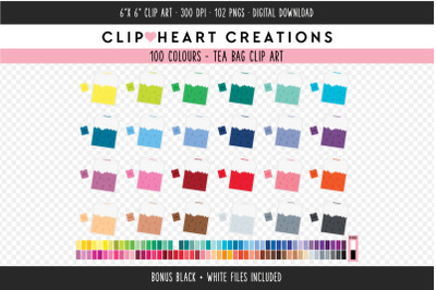 Teabag Clipart - 100 Colours