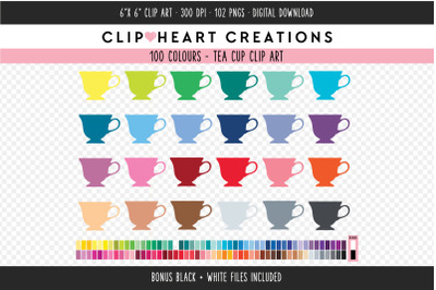Tea Cup Clipart - 100 Colours