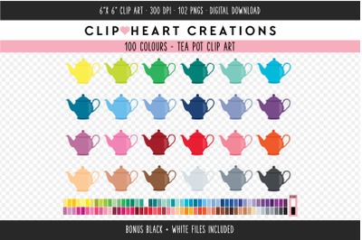 Tea Pot Clipart - 100 Colours