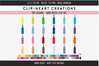 Wine Bottle Clipart - 100 Colours