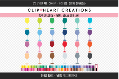 Wine Glass Clipart - 100 Colours