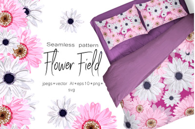 Spring set Flower field Seamless pattern and seamless borders with f