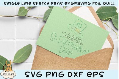 Celebrate St. Patrick's Day Single Line Sketch Foil Quill