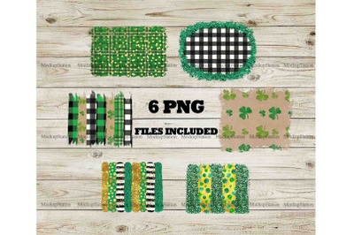 St Patrick's Sublimation Background PNG Bundle, Clover Frame