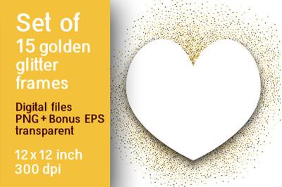 Set of 15 gold glitter frames on a transparent background
