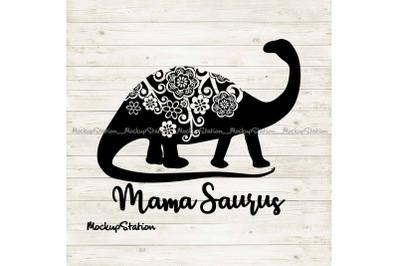 Mama Saurus Mandala SVG, Floral Dino Mom Cut File