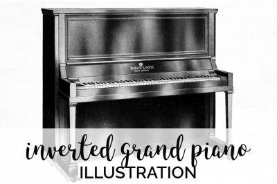 Music - Inverted Grand Piano Vintage Clipart Graphics