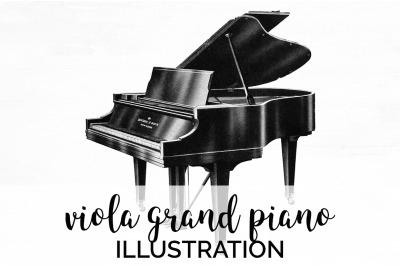 Music - Viola Grand Piano Vintage Clipart Graphics