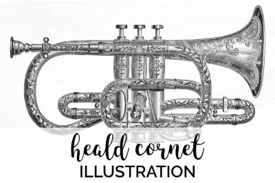 Music - Heald Cornet Vintage Clipart Graphics