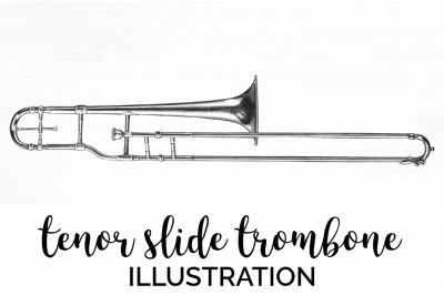 Trombone Clipart Music - Tenor Slide Trombone Vintage