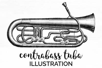 Tuba Clipart Music - Contrabass Tuba Vintage