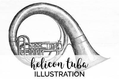 Tuba Clipart Music - Helicon Tuba Vintage