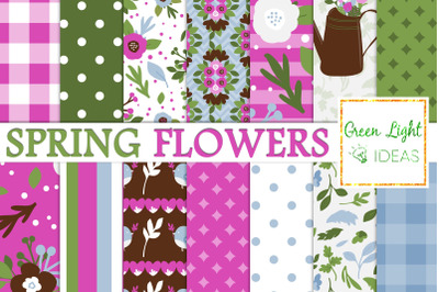 Spring Flowers Digital Papers, Mother's Day Floral Garden Backgrounds