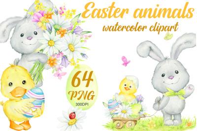 Watercolor. Easter Bunny, chicken, duckling, eggs, flowers. Children's
