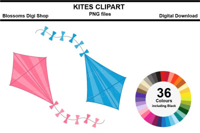 Kites Sticker Clipart, 36 files, multi colours